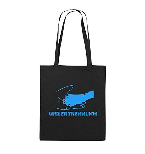 Comedy Bags - UNZERTRENNLICH - HAND PFOTE Hundeliebe - Jutebeutel - lange Henkel - 38x42cm - Farbe: Schwarz / Pink Schwarz / Blau