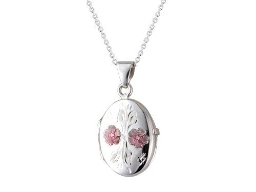 argent-925-pendentif-medaillon-ovale-grave-avec-chaine-de-fleurs-18-cm-email-coffret-cadeau