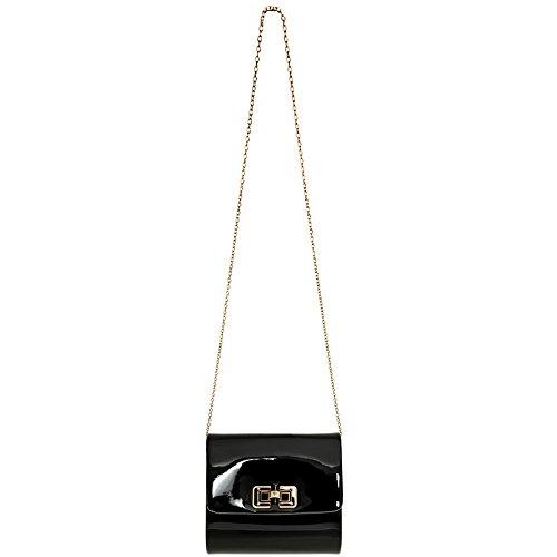 Caspar Ta387 Mini Pochette Da Donna In Vernice Metallizzata Mini Borsa Da Sera Elegante Con Catenina Nera Lunga