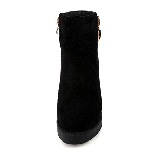 COOLCEPT Damen Mode-Event Fransen Schnalle Hohen Absätzen Knöchelriemchen Reißverschluss Blockabsatz Elegant Chelsea Stiefel Schwarz