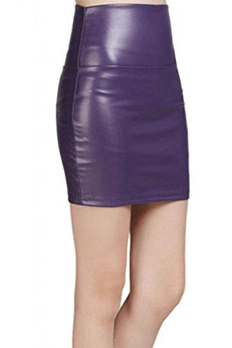 Lotus Instyle Kunstleder Mini röcke Lederrock Lila