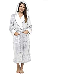CityComfort® Luxury Dressing Gown Ladies Super Soft Robe With Fur Lined Hood Plush Bathrobe For Women-Perfect Gift (Pink & Purple)