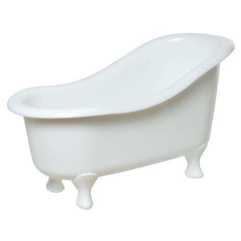 Deko Badewanne Kunststoff weiß 26x13x14cm Ideal für Geschenkideen (Poly Badewanne)