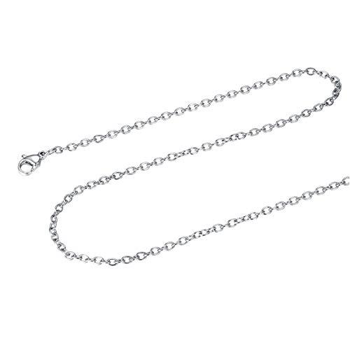 FOCALOOK Halskette für Männer Frauen Jungen Mädchen 2mm dünne Rolokette Edelstahl Halskette Ersatzkette für Anhänger silberfarben Gliederkette 50cm