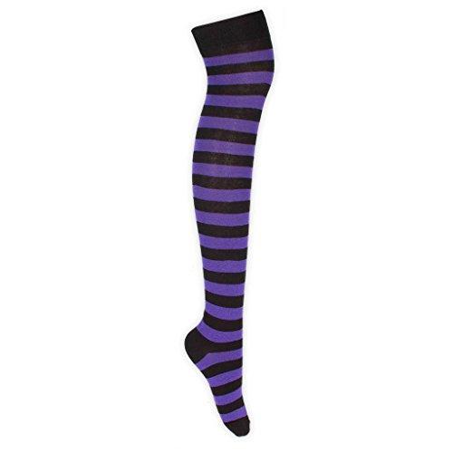 adam & eesa 1 oder 3 Paare Damen Über Kniestrümpfe Cheerleader Socken mit bunten vollen Streifenstrümpfen UK Größe - Göttin Kostüm Für Jugendliche