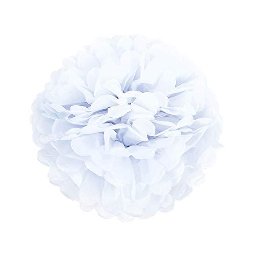 apier Pom Poms Seidenpapier PomPom Dekoration für Party Hochzeit Deko (25cm, Weiß) ()