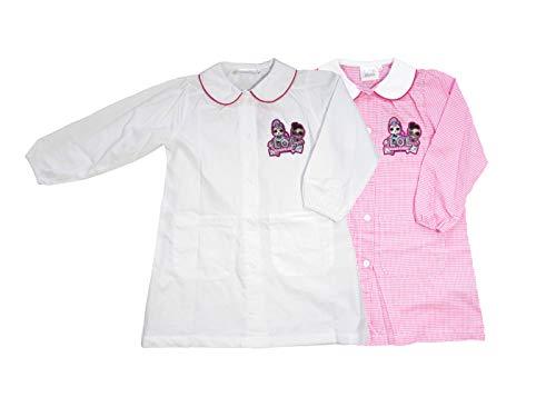 Sun city grembiule asilo bambina lol surprise, rosa/bianco con tasche laterali - 6074 (5 anni - 110 cm, bianco)