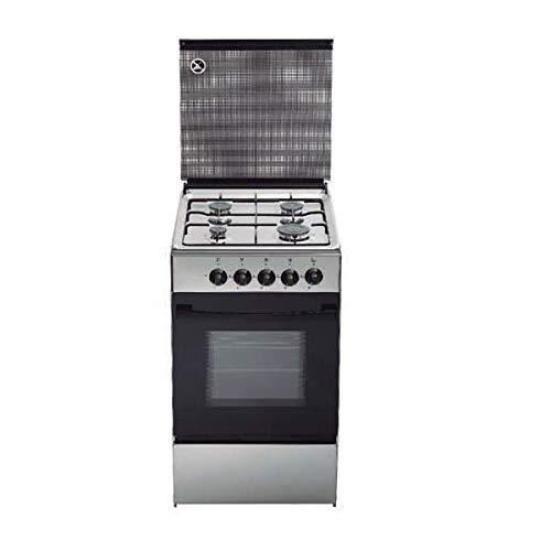 Cocina de gas butano/natural Haltra P4-FX, 4 quemadores, Horno, acabado Inox