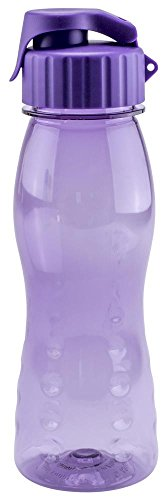 culinario Trinkflasche flip'S aus Kunststoff, 500 ml, in lila, mit Silikon-Dichtungsring, Schraubverschluss, Hängeöse, Griffmulden, geschmacksneutral