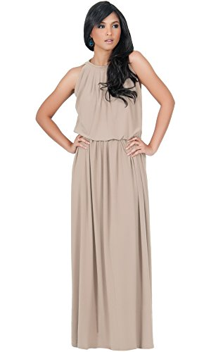 Damen Ärmellos Maxikleid Elegante Cocktailkleid Halter mit Keyhole, Farbe Hellbraun, Größe XL / Extra Large (3) (Plus Size Göttin Kostüme)