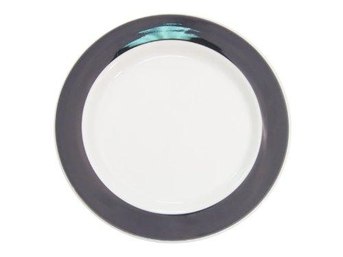 CAC China R-8-BLACK Rainbow Rolled Edge 9-Inch Black Stoneware Round Plate, Box of 24 Rainbow Rolled Edge