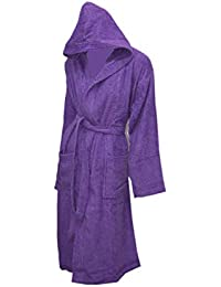 Unisex Women 100% Cotton Hooded Bath Rob Egyptian Cotton Terry Toweling  Bathroom Gift Shower Dressing Gown Mega Bargain  257c46339