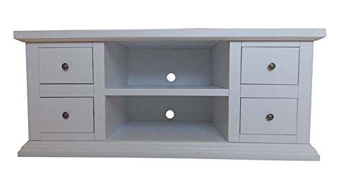 Legno&Design Meuble TV TV 4 tiroirs 2 Compartiments à Jour en Bois Art pauvre Blanc