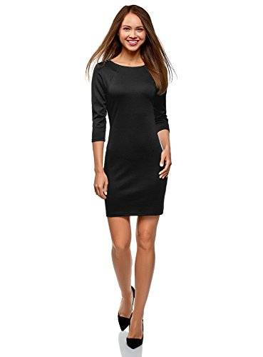 oodji Ultra Damen Enges Kleid mit Reißverschluss, Schwarz, DE 40 / EU 42 / L Schwarz Reißverschluss Kleid
