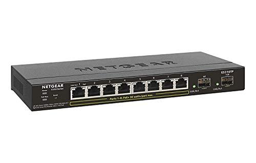 Netgear GS310TP-100EUS 10 Port LAN Switch PoE+ Ethernet Smart Managed Pro Netzwerk Switch ( 8 x Gigabit mit 2 x SFP-Glasfaser Ports, 55W Budget, lüfterlos, ProSAFE und techn. Chat Support) schwarz (Netgear 8 Port-netzwerk-switch)