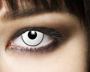Produktbild 3-Monatslinsen WHITE MANSON, weiße Zombie Kontaktlinsen, Crazy Funlinsen, Halloween, Fastnacht, weiß