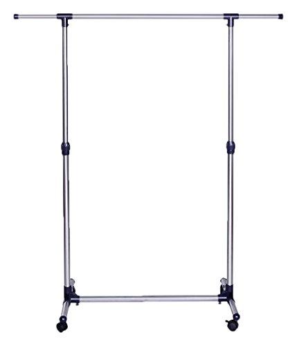 Songmics LLR01L Kleiderständer Ausziehbar mit Rollen, Metall, blau, 150 x 44 x 165 cm
