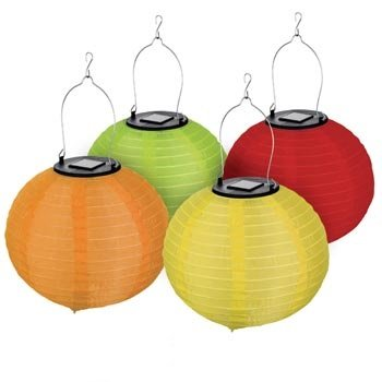 LUMiLiFE LED Solar Chinese Lanterns - 4 Pack - Multicolour - Large by LUMiLiFE