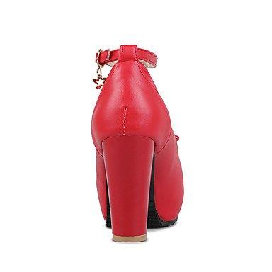 LvYuan Da donna Sandali Finta pelle Primavera Estate Fiocco Quadrato Bianco Nero Rosso Rosa Piatto Black