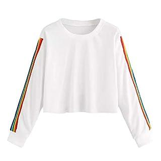 iHENGH Damen Langärmliges Regenbogen Patchwork O Shirt der Frauen beiläufiger Bluse Pullover(S,Weiß)