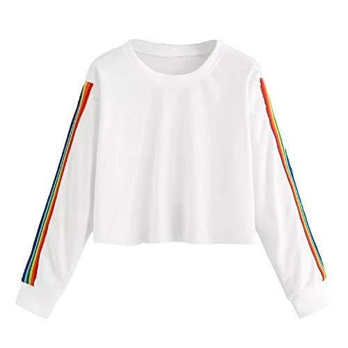 MIRRAY Damen Langarm Regenbogen Streifen Patchwork O-Ausschnitt Sweatshirt -