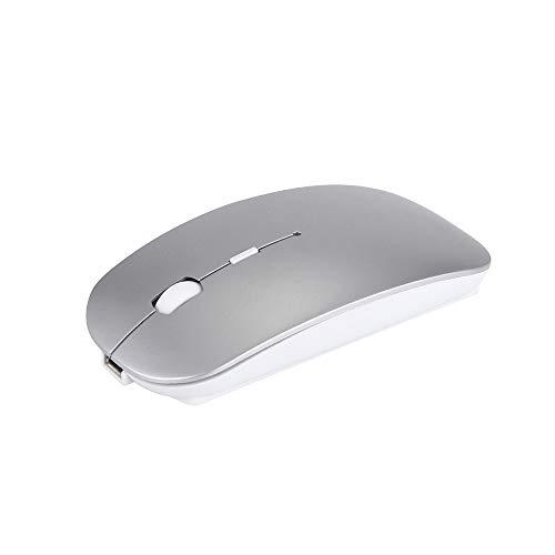 Hunpta@ Maus, 4 Button Slim Silent Mate Wiederaufladbare Wireless Mouse Mäuse für PC Laptop Android Tablet (Silber) -