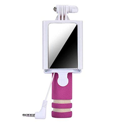 Tefamore Palo Selfie Mini cámara Handheld del monopio del palillo de Selfie para el borde de la galaxia S7 de Samsung (Rojo caliente)