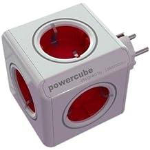 Allocacoc PowerCube - Enchufe de red con 5 tomas, rojo
