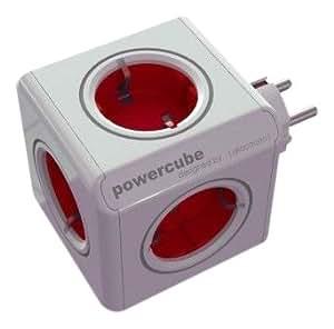 allocacoc PowerCube Original Rot, Reiseadapter & 5x Steckdose und Verteiler, 230V Schuko, Weiß Rot