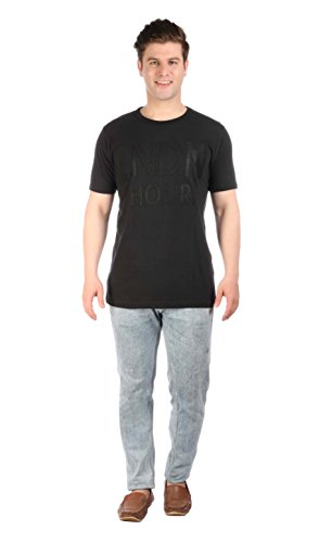 LNDN HOUR Half Sleeves New Stylish Fabric Patch Chest Print, Round Neck Cotton Tshirt, Latest High Quality Fashion Garments For Mens / Boys. Black Colour