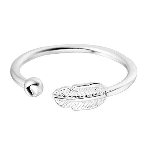 Anillo plata ley 925Lovely hojas bola abierta anillo