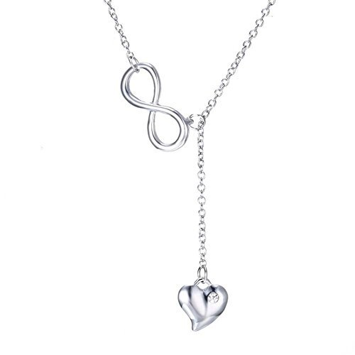 TuTu Y Sterling Silver Cubic Zirconia Infinity Faith and Heart Lariat and 17mm Crystal Drop in Necklace16.5+2 by Tutu