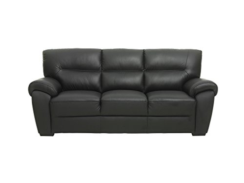 PKLine Sofa BAMO 3 Sitzer in schwarz Couch Ledersofa - 2
