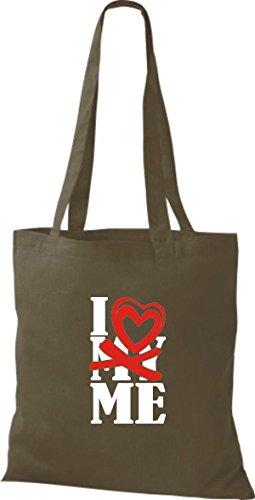 ShirtInStyle Shopper Valentinstag I Love ME olive