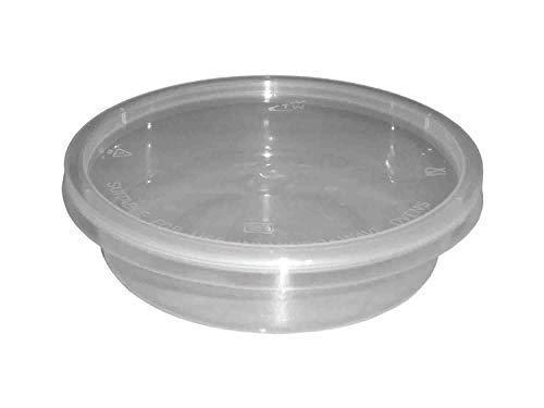 We Can Source It Ltd - 50 x Rotondo 8oz Microonde Plastica Trasparente Contenitori Alimentari Congelamento da Asporto Freddo Caldo Alimenti - 120mm (D) x 30mm (H)