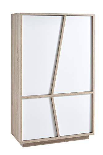 Demeyere Nature Bahut Haut 2+2 Portes Coloris Blanc Perle et chêne brossé, 91,2x42,3x149 cm