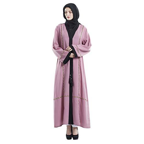 TIFENNY Damen Langer Bademantel im Dubai-Stil, offene Vorderseite, Kaftan, Abaya, Muslimische Cardigan Jilbab Ballkleid - Pink - X-Groß Sheer Mesh Jacke