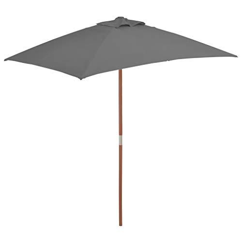 Tidyard- Sonnenschirm mit Holz-Mast UV Schutz 200×300 cm Balkonschirm Gartenschirm Strandschirm Marktschirm Terrassenschirm für Garten Balkon Terrasse oder Strand