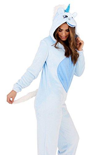 Damen Einhorn Einteiler Damen Pyjama 3D Ohren Hupe & Schwanz Alles In Eins Hausanzug - Violett Einhorn, XL - EUR 48-50 blau Einhorn