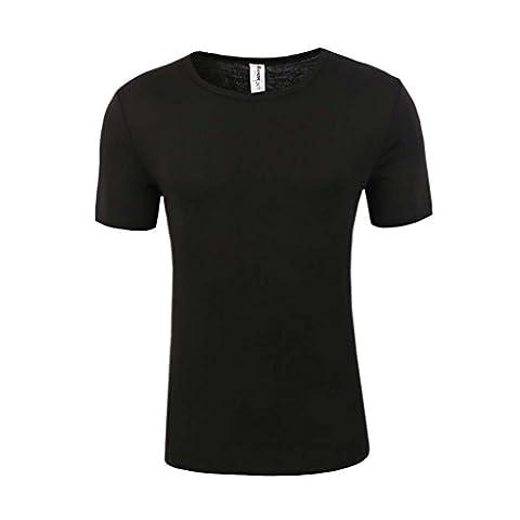 Bienzoe Men's Short Sleeve High Tech Fiber Polypropylene Thermals Underwear Top Black L