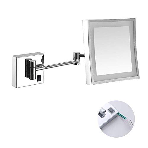 GJJSZ Espejos montados en la Pared Espejo de Afeitar para Maquillaje con luz LED para tocador de Hotel...