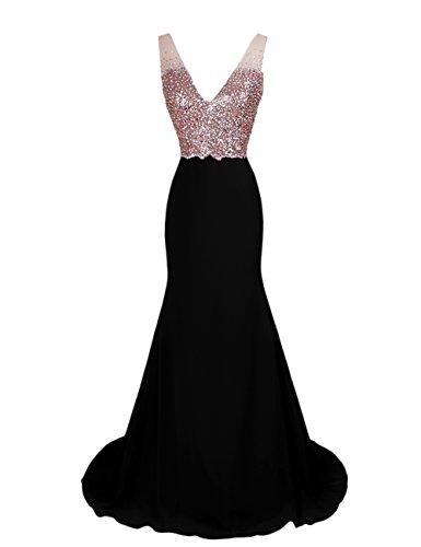 Dresstells, Robe de soirée Robe de bal Robe de cérémonie dos nu paillettée traîne moyenne Noir