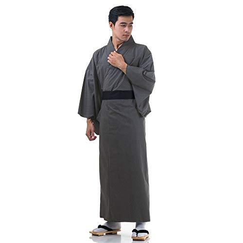 Princess of Asia Japanischer Herren Yukata Kimono Baumwolle M L XL Dunkelgrau