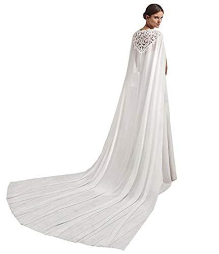 Meibida mantello in chiffon della chiesa nuziale del capo scialle nuziale da sposa (avorio)