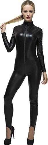 Fever Kollektion Miss Whiplash Kostüm Schwarz mit Reißverschluss-Catsuit, Large (Kostüm Catsuit)