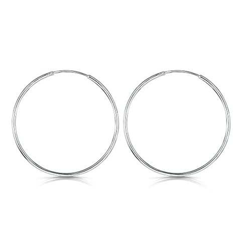 Amberta® 925 Sterling Silver Fine Circle Endless Hoops - Polished Round Sleeper Earrings Diameter Size: 20 30 40 60 80 mm (40mm)
