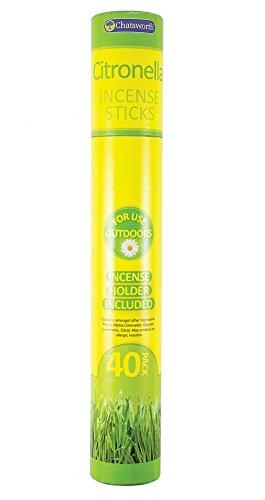 151, Chatsworth - Confezione 40 bastoncini di incenso per esterni alla citronella con supporto