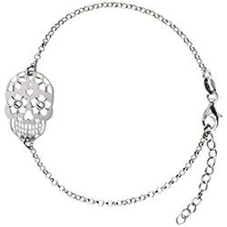 AKA Joyas - Pulsera Mujer con Colgante Calavera y Cristales Swarovski Plata de Ley 925 Rodio