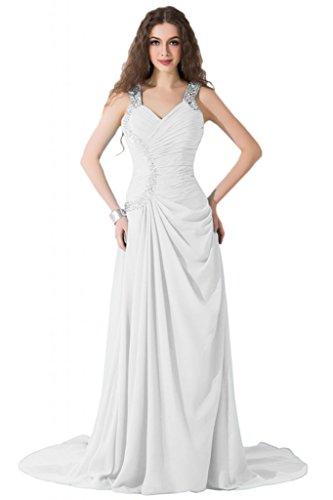 Sunvary modesta Spaghetti, cinghia e corsetto abiti per abiti da sera Pageant sera Bianco