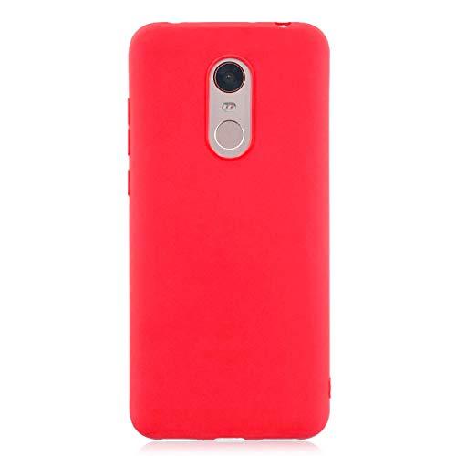 cuzz Funda para Xiaomi Redmi 5 Plus+{Protector de Pantalla de Vidrio Templado} Carcasa Silicona Suave Gel Rasguño y Resistente Teléfono Móvil Cover-Rojo